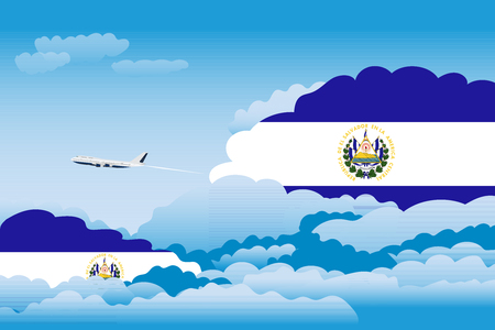 Illustration of Clouds, Clouds with El Salvador Flags, Aeroplane Flying