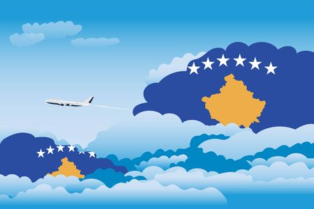 Illustration of Clouds, Clouds with Kosovo Flags, Aeroplane Flying