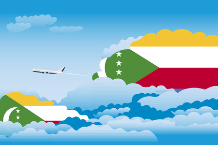 Illustration of Clouds, Clouds with Comoros Flags, Aeroplane Flying
