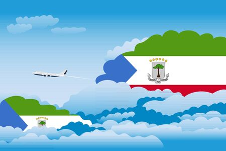 Illustration of Clouds, Clouds with Equatorial Guinea Flags, Aeroplane Flying