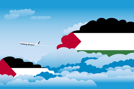 Illustration of Clouds, Clouds with Palestine Flags, Aeroplane Flying