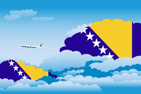 Illustration of Clouds, Clouds with Bosnia and Herzegovina Flags, Aeroplane Flying Illustration