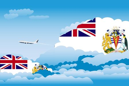 antarctic: Illustration of Clouds, Clouds with British Antarctic Territory Flags, Aeroplane Flying