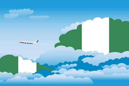 Illustration of Clouds, Clouds with Nigeria Flags, Aeroplane Flying Illustration