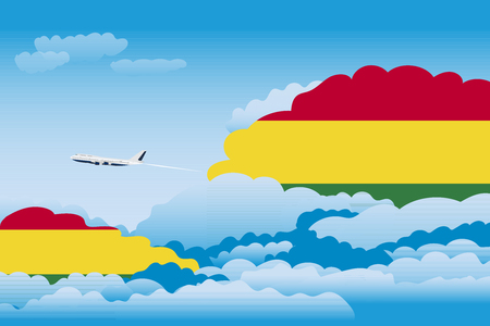 Illustration of Clouds, Clouds with Bolivia Flags, Aeroplane Flying