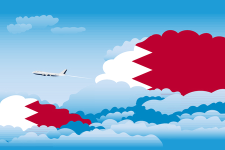Illustration of Clouds, Clouds with Bahrain Flags, Aeroplane Flying