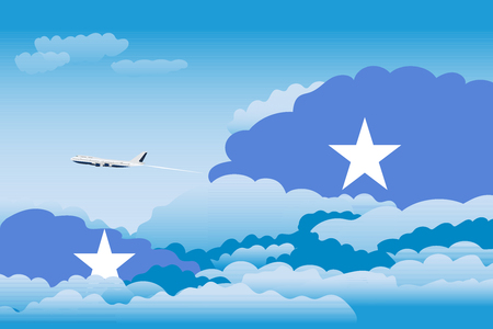 Illustration of Clouds, Clouds with Somalia Flags, Aeroplane Flying Illustration