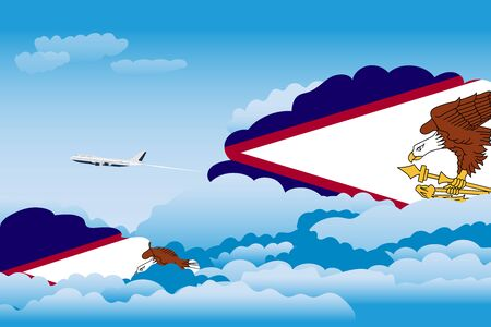 Illustration of Clouds, Clouds with American Samoa Flags, Aeroplane Flying Illustration