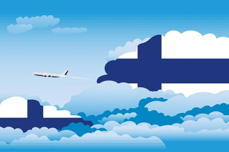Illustration of Clouds, Clouds with Finland Flags, Aeroplane Flying