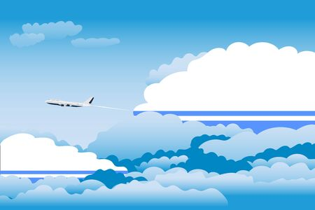 Illustration of Clouds, Clouds with Altai Republic Flags, Aeroplane Flying