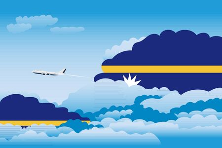 Illustration of Clouds, Clouds with Nauru Flags, Aeroplane Flying Illustration