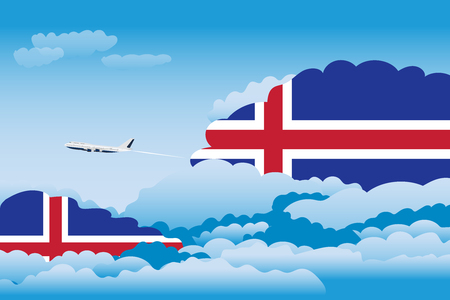 Illustration of Clouds, Clouds with Iceland Flags, Aeroplane Flying