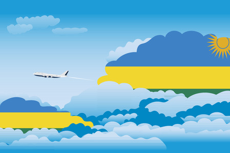 Illustration of Clouds, Clouds with Rwanda Flags, Aeroplane Flying