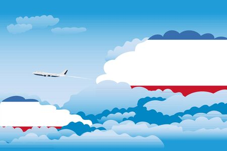 Illustration of Clouds, Clouds with Crimea Flags, Aeroplane Flying Illustration