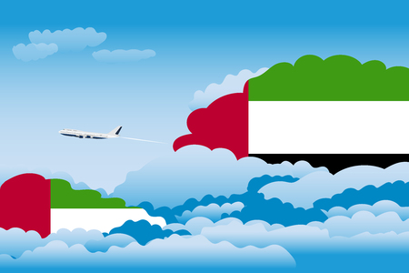 Illustration of Clouds, Clouds with United Arab Emirates Flags, Aeroplane Flying