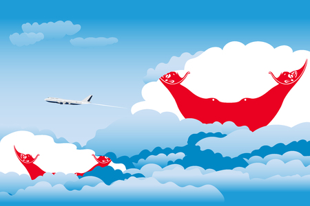 Illustration of Clouds, Clouds with Easter Island - Rapa Nui Flags, Aeroplane Flying Illustration