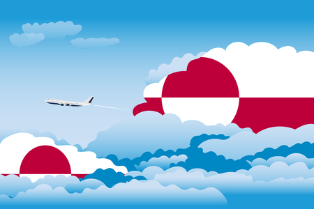 Illustration of Clouds, Clouds with Greenland Flags, Aeroplane Flying