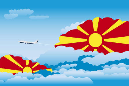 Illustration of Clouds, Clouds with Macedonia Flags, Aeroplane Flying Illustration