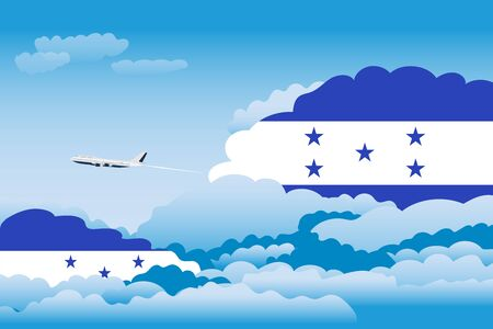 bandera honduras: Illustration of Clouds, Clouds with Honduras Flags, Aeroplane Flying