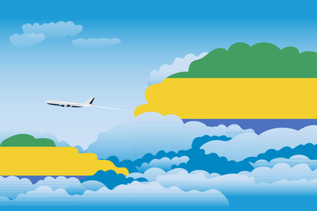 Illustration of Clouds, Clouds with Gabon Flags, Aeroplane Flying