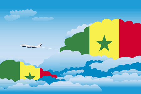 Illustration of Clouds, Clouds with Senegal Flags, Aeroplane Flying