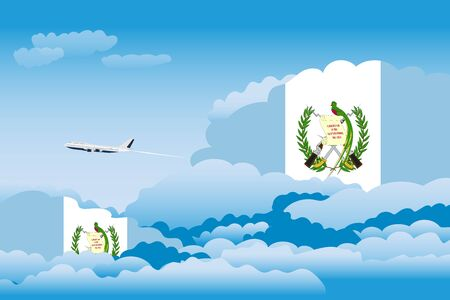 bandera de guatemala: Illustration of Clouds, Clouds with Guatemala Flags, Aeroplane Flying