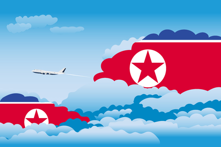 Illustration of Clouds, Clouds with Korea, North Flags, Aeroplane Flying