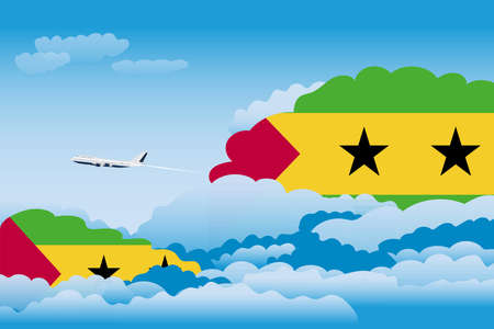 Illustration of Clouds, Clouds with Sao Tome and Principe Flags, Aeroplane Flying