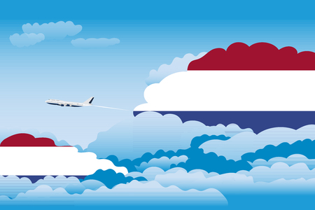 Illustration of Clouds, Clouds with Netherlands Flags, Aeroplane Flying