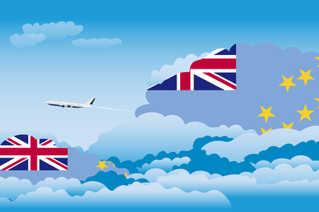 Illustration of Clouds, Clouds with Tuvalu Flags, Aeroplane Flying Illustration