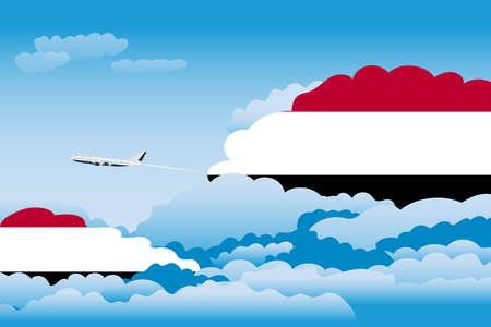 yemen: Illustration of Clouds, Clouds with Yemen Flags, Aeroplane Flying