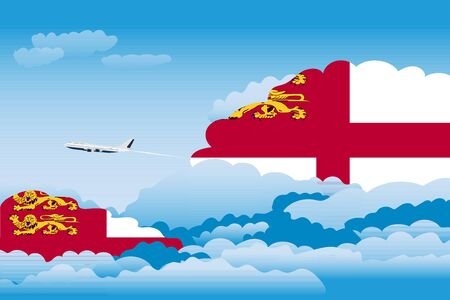 Illustration of Clouds, Clouds with Sark Flags, Aeroplane Flying Illustration