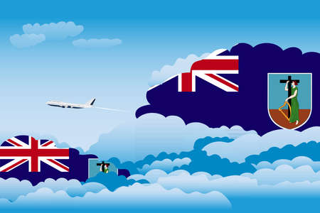 Illustration of Clouds, Clouds with Montserrat Flags, Aeroplane Flying Illustration