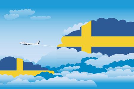 bandera de suecia: Ilustración de nubes, nubes con banderas de Suecia, vuelo de avión Vectores