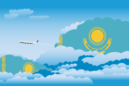 Illustration of Clouds, Clouds with Kazakhstan Flags, Aeroplane Flying Ilustrace
