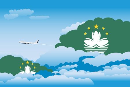 macau: Illustration of Clouds, Clouds with Macau Flags, Aeroplane Flying
