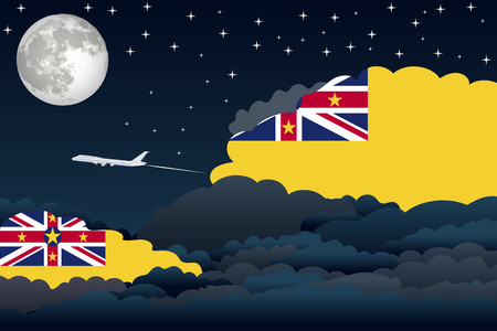 niue: Illustration of Night Clouds, Night Clouds with Niue Flags, Aeroplane Flying Illustration