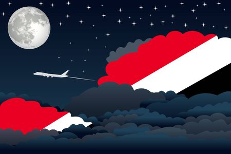 sealand: Illustration of Night Clouds, Night Clouds with Sealand, Principality of Flags, Aeroplane Flying