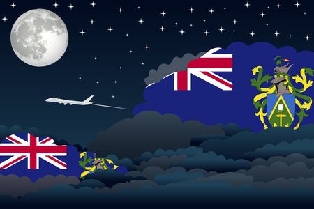 pitcairn: Illustration of Night Clouds, Night Clouds with Pitcairn Islands Flags, Aeroplane Flying Illustration