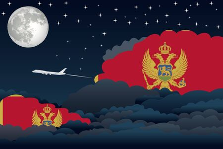 Illustration of Night Clouds, Night Clouds with Montenegro Flags, Aeroplane Flying
