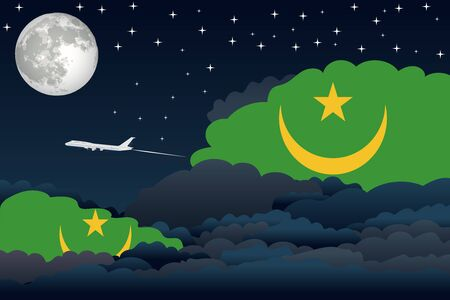 mauritania: Illustration of Night Clouds, Night Clouds with Mauritania Flags, Aeroplane Flying