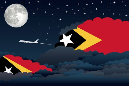 timor: Illustration of Night Clouds, Night Clouds with East Timor Flags, Aeroplane Flying