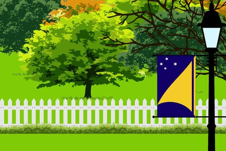 tokelau: Tokelau Flag, Landscape of Park, Trees, Fence wooden and Street light Vector Illustration