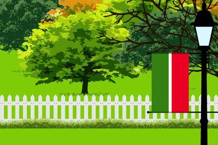 Tatarstan Flag, Landscape of Park, Trees, Fence wooden and Street light Vector Illustration Illustration