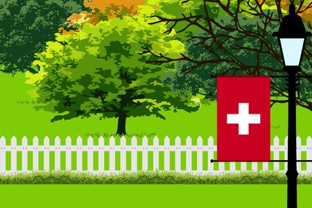 Switzerland Flag, Landscape of Park, Trees, Fence wooden and Street light Vector Illustration Illustration