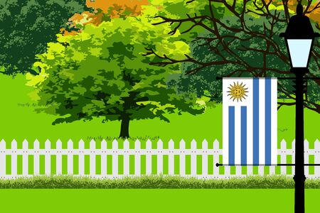 bandera de uruguay: Uruguay Flag, Landscape of Park, Trees, Fence wooden and Street light Vector Illustration Vectores