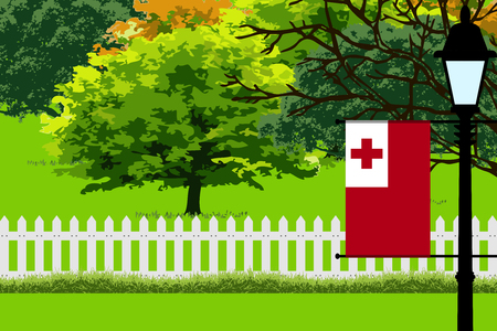 Tonga Flag, Landscape of Park, Trees, Fence wooden and Street light Vector Illustration Illustration