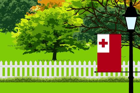 tonga: Tonga Flag, Landscape of Park, Trees, Fence wooden and Street light Vector Illustration Illustration