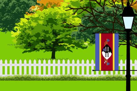 Swaziland Flag, Landscape of Park, Trees, Fence wooden and Street light Vector Illustration