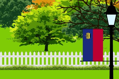 Liechtenstein Flag, Landscape of Park, Trees, Fence wooden and Street light Vector Illustration Illustration
